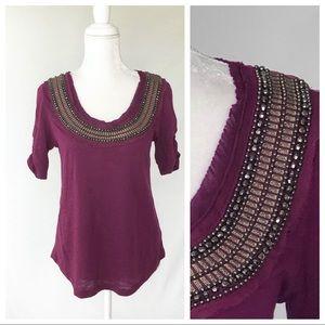 Anthropologie Deletta purple beaded top t-shirt